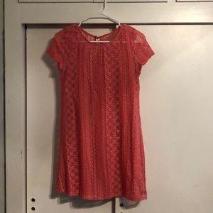 Coral-pink mini dress